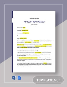 Notice of Rent Default Template