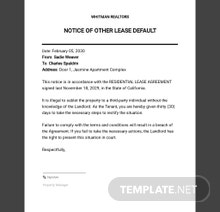 Notice of Other Lease Default Template