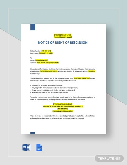 Notice of Right of Rescission Template
