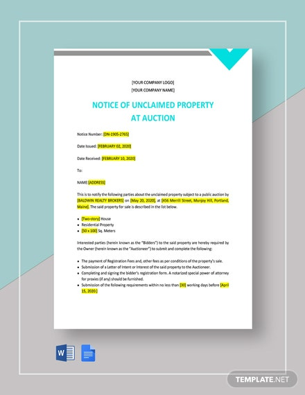 Notice of Unclaimed Property at Auction Template