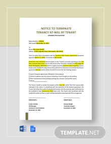 Notice to Terminate Tenancy At-Will by Tenant Template