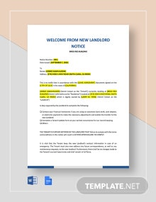 Welcome From New Landlord Template