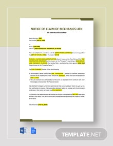 Notice of Claim of Mechanics Lien Template