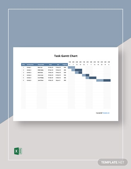 Free Sample Task Gantt Chart Template