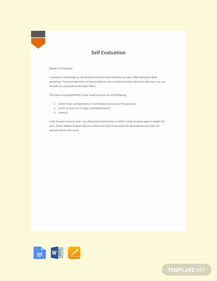 free self appraisal letter template