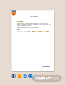 Free Self Appraisal Letter Template