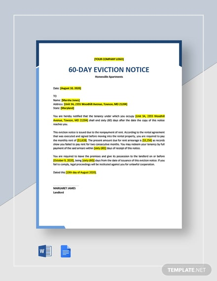 60-Day Eviction Notice Template