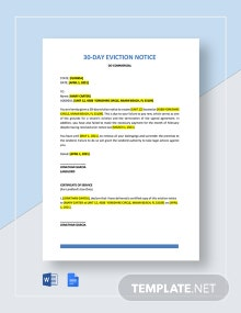 30 Day Real Estate Eviction Notice Template