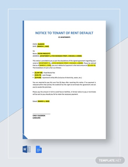 Notice To Tenant of Rent Default Template