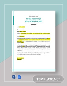 Notice to Quit for Non-Payment of Rent Template