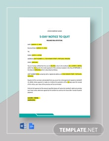 5-Day Notice to Quit Template
