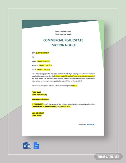 Free Commercial Real Estate Eviction Notice