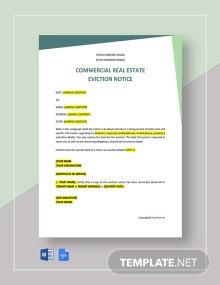 Free Commercial Real Estate Eviction Notice Template