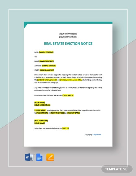 Free Sample Real Estate Eviction Notice