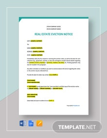 Free Sample Real Estate Eviction Notice Template