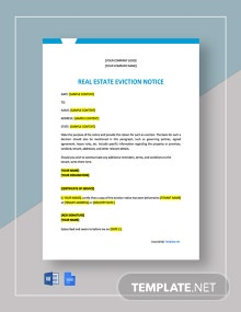 Free Blank Real Estate Eviction Notice Template