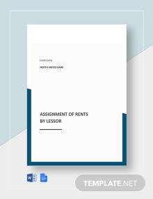 Assignment of Rents by Lessor Template