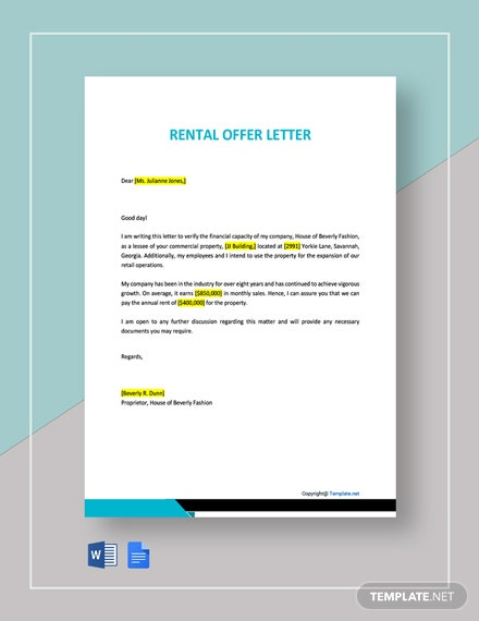 Rental Offer Letter