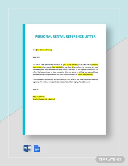 Personal Rental Reference Letter Template