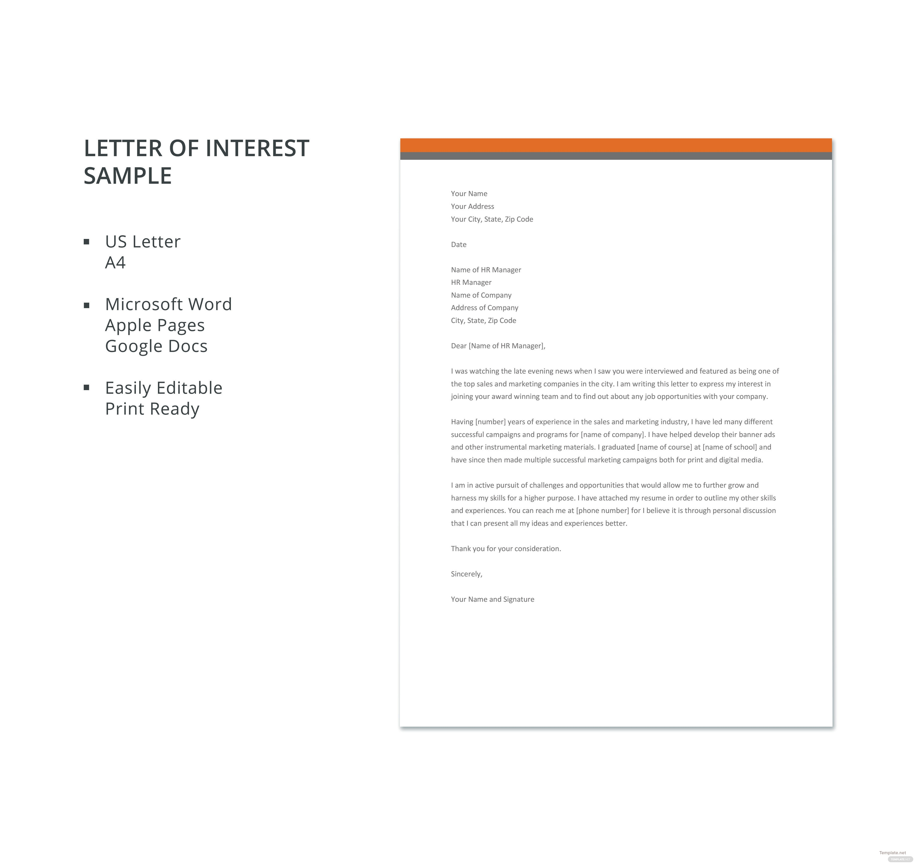 Letter of interest sample template in microsoft word apple pages click to see full template letter of interest sample spiritdancerdesigns Choice Image