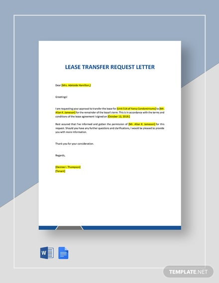 Lease Transfer Request Letter Template