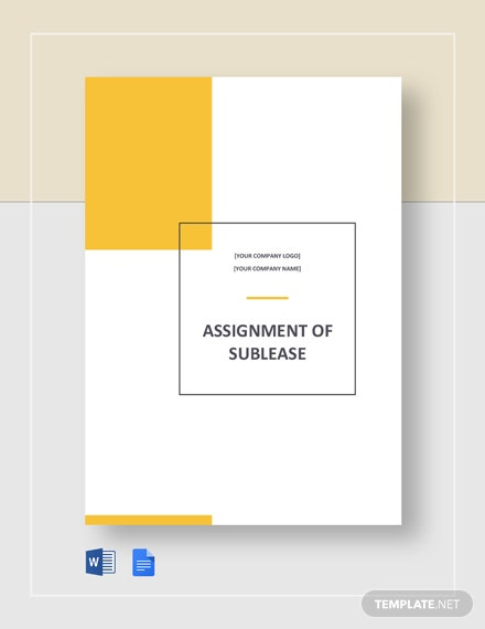Free Assignment of Sublease Template