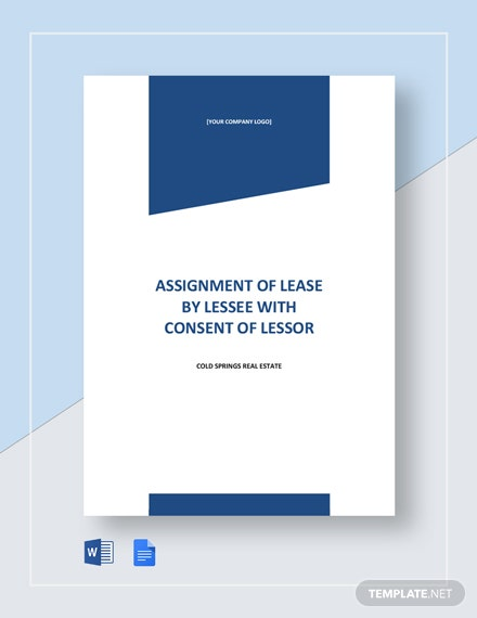 Assignment of Lease by Lessee With Consent of Lessor Template