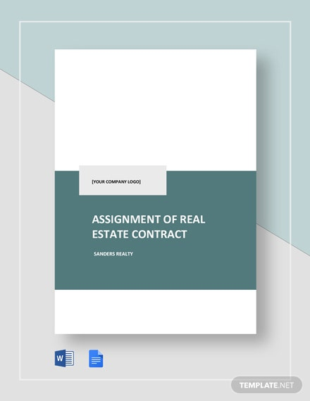 Assignment of Real Estate Contract Template
