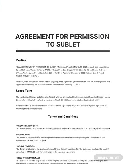 Agreement for Permission to Sublet Template