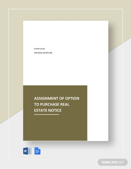 Assignment Of Option To Purchase Real Estate Template
