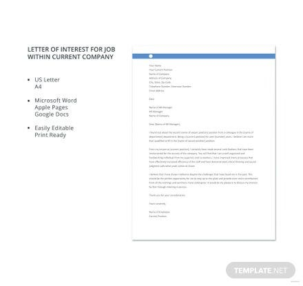 Professional Letter of Interest Template | Free Templates