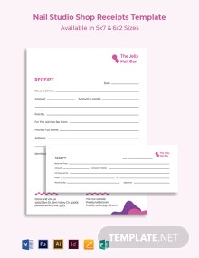 Nail Studio Shop Receipt Template