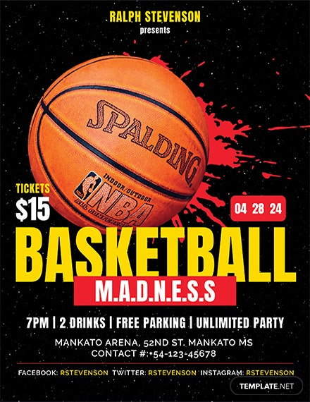 basketball madness flyer template 1