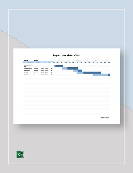 Free Sample Department Gantt Chart Template