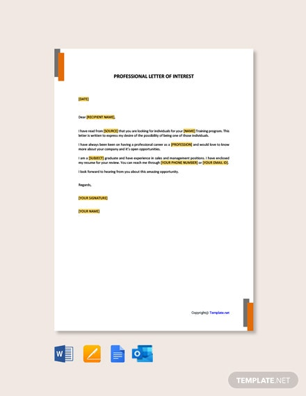 Free Professional Letter of Interest Template