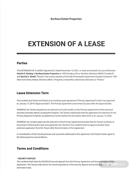 Extension of a Lease Template