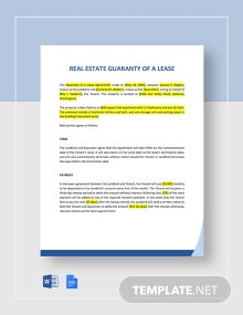 Guaranty of a Lease Template