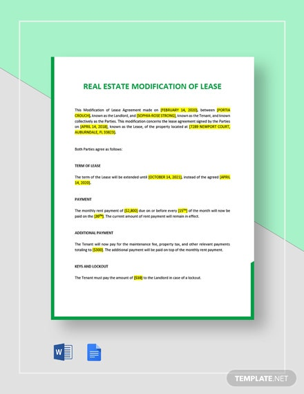Modification of Lease Template