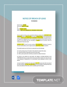 Notice of Breach of Lease Template