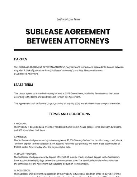 Sublease Agreement Between Attorneys Template