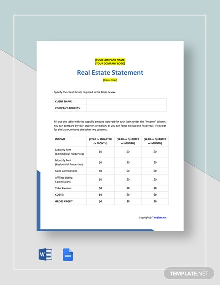 Free Blank Real Estate Statement Template