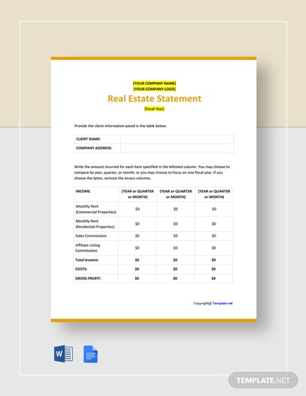 Free Basic Real Estate Statement Template