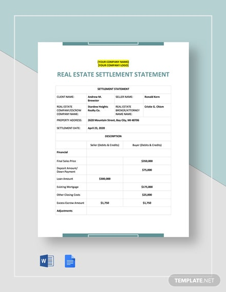 Real Estate Settlement Statement Template