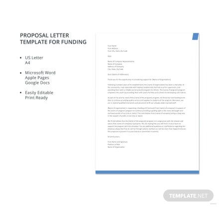Proposal Letter Template For Funding Free Templates