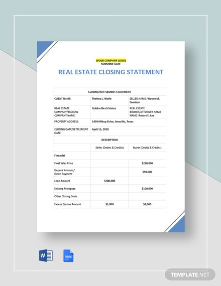 Real Estate Closing Statement Template
