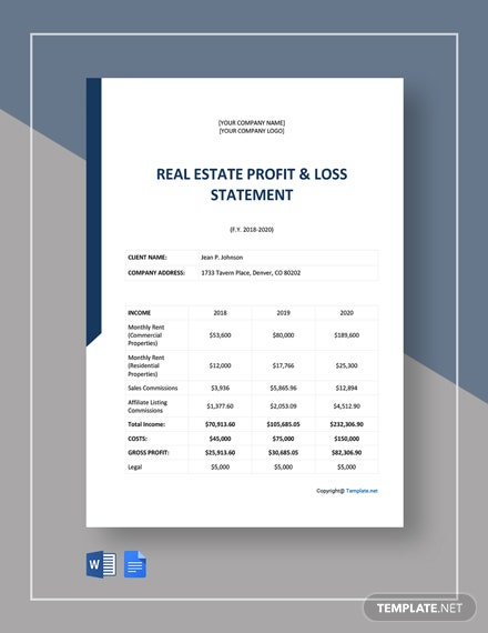 Real Estate Profit And Loss Statement Template