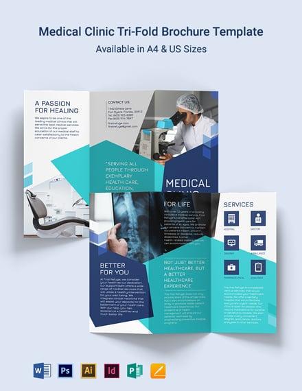 Medical Clinic Center Tri-Fold Brochure Template