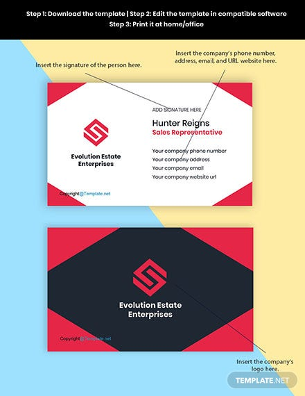 Free Professional Real Estate Business Card Template Format