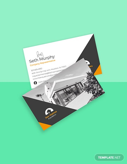 Real Estate Home for Sale Business Card Template Format