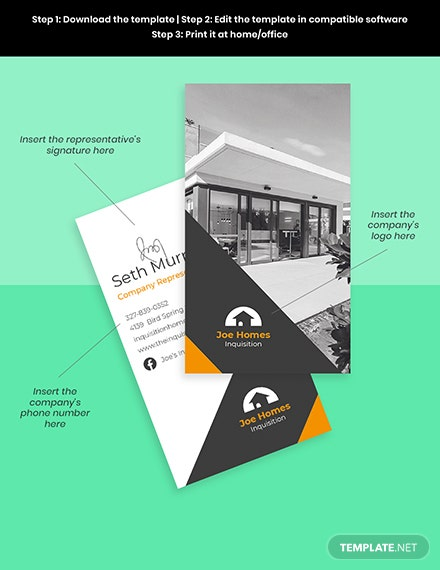Real Estate Home for Sale Business Card Template Sample